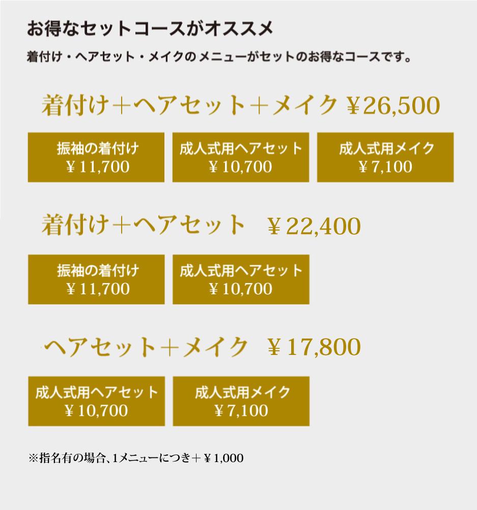 着付け+ヘアセット+メイク¥26,500,着付け+ヘアセット¥22,400,ヘアセット+メイク¥17,800